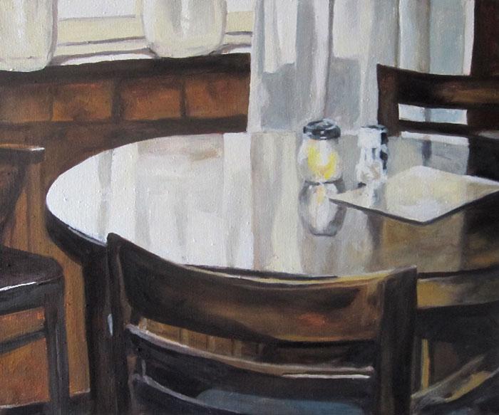 """""""Klok, Tisch"""" · 2020 · Öl auf Leinwand · 50 x 60 cm"""